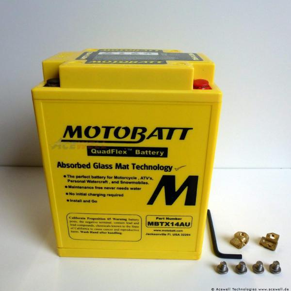 4-polig 16,5 Ah Motobatt MBTX14AU