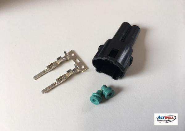 Wasserdichter Steckersatz schwarz oder weiss (2-Pin)